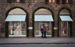 amerykański co firmy jewellery silverware tiffany sklep w Florencja Obrazy Royalty Free