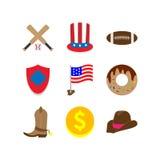 Amerykański ikona set ilustracji