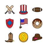 Amerykański ikona set Obraz Royalty Free