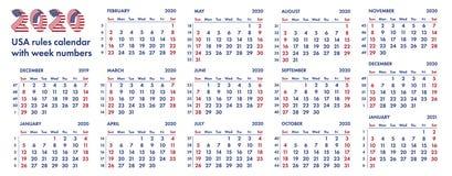 2020 amerykańskich kalendarzowych tygodni ilustracyjnych Obrazy Stock
