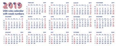 2019 amerykańskich kalendarzowych tygodni ilustracyjnych Zdjęcia Royalty Free