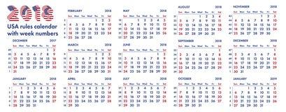2018 amerykańskich kalendarzowych tygodni ilustracyjnych Obrazy Royalty Free