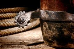 amerykańskiej buta kowbojskiej rodeo ostroga zachodni western Obraz Royalty Free