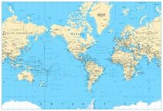 Ameryka ześrodkowywał światową mapę Obraz Stock
