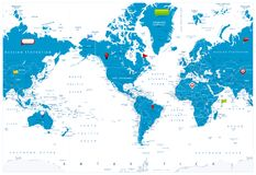 Ameryka Ześrodkowywał Światową mapę i glansowane ikony na mapie ilustracji