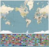 Ameryka Ześrodkowywał Światową mapę i Wszystkie świat flaga Retro kolory Fotografia Stock