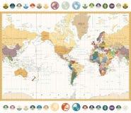 Ameryka Ześrodkowywał Światową mapę z płaskimi ikonami i kulami ziemskimi Rocznik Fotografia Stock
