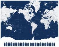 Ameryka Ześrodkowywał Światowej mapy i nawigaci mapy pointerów royalty ilustracja