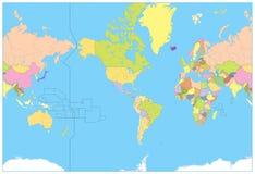 Ameryka Ześrodkowywał Polityczną Światową mapę żadny tekst Obrazy Stock