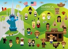Ameryka ziemia amerykańskie marzenia z ludźmi ilustracji