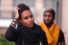 Amerykan Afrykańskiego Pochodzenia nastolatków Plenerowy portret Obrazy Stock