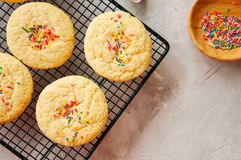 Amerykan stylowi round ciastka z confetti shortbread na wirze Fotografia Royalty Free