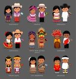 Amerykanie i azjata w obywatel sukni ilustracji