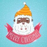 Amerykanin afrykańskiego pochodzenia Święty Mikołaj z faborkiem Zdjęcie Royalty Free
