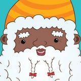 Amerykanin afrykańskiego pochodzenia Święty Mikołaj z faborkiem Obrazy Royalty Free
