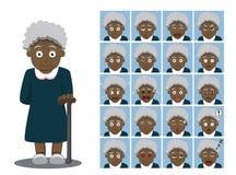 Amerykanin Afrykańskiego Pochodzenia babci kreskówki emocja stawia czoło Wektorową ilustrację Fotografia Stock