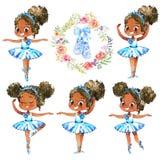 Amerykanin Afrykańskiego Pochodzenia baleriny Princess charakter tancerza set Ślicznego dziecko dziewczyny odzieży Błękitnego spó royalty ilustracja