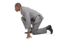 amerykanin afrykańskiego pochodzenia biznesowego mężczyzna przygotowywający bieg zdjęcia royalty free