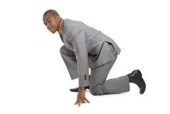 amerykanin afrykańskiego pochodzenia biznesowego mężczyzna przygotowywający bieg zdjęcie royalty free