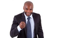 Amerykanin Afrykańskiego Pochodzenia biznesowego mężczyzna zaciskająca pięść Zdjęcia Royalty Free