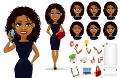 Amerykanin Afrykańskiego Pochodzenia biznesowej kobiety postać z kreskówki ilustracja wektor