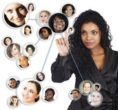 amerykanin afrykańskiego pochodzenia bizneswomanu sieci socjalny Obrazy Stock