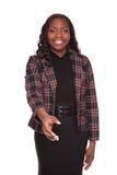amerykanin afrykańskiego pochodzenia bizneswomanu uścisk dłoni zasięg Zdjęcia Stock