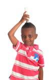 amerykanin afrykańskiego pochodzenia czarny żarówki dziecko odizolowywający Zdjęcie Royalty Free