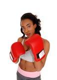 Amerykanin Afrykańskiego Pochodzenia kobieta jest ubranym bokserskie rękawiczki Zdjęcia Stock