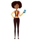 Amerykanin Afrykańskiego Pochodzenia kobieta z mądrze telefon ilustraci isol Obraz Stock