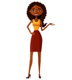 Amerykanin Afrykańskiego Pochodzenia kobiety Atrakcyjna młoda dama przedstawia coś płaska kreskówka wektoru ilustracja EPS10 Odiz Fotografia Royalty Free