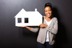 Amerykanin afrykańskiego pochodzenia kobiety dom Obraz Royalty Free