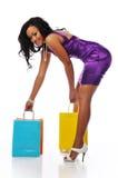 amerykanin afrykańskiego pochodzenia kupujący Zdjęcia Royalty Free