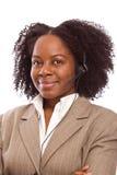 Amerykanin Afrykańskiego Pochodzenia obsługi klienta agent na telefonie Zdjęcie Stock