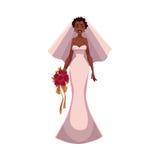 Amerykanin Afrykańskiego Pochodzenia panna młoda, narzeczona zamężna kobieta, właśnie ilustracja wektor