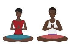 Amerykanin afrykańskiego pochodzenia pary joga wektoru ilustracja Lotosowa pozycja odizolowywająca Obraz Stock
