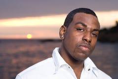 amerykanin afrykańskiego pochodzenia plaży mężczyzna Zdjęcia Royalty Free