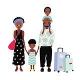 Amerykanin Afrykańskiego Pochodzenia rodzina na wakacje Matka, ojciec i dzieci podróżuje wpólnie, Mężczyzna, kobiety i dzieciaków ilustracja wektor