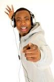 amerykanin afrykańskiego pochodzenia słuchawki obraz stock