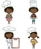 amerykanin afrykańskiego pochodzenia szef kuchni śliczne dziewczyny ilustracja wektor