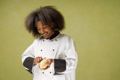 amerykanin afrykańskiego pochodzenia szef kuchni szczęśliwi potomstwa Zdjęcia Stock