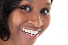 Amerykanin afrykańskiego pochodzenia twarzy portret zamknięty w górę naturalnego piękna czerni obraz royalty free