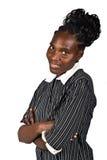Amerykanin afrykańskiego pochodzenia uśmiechnięta kobieta Obraz Stock