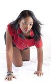 amerykanin afrykańskiego pochodzenia wręcza kolan kobiety potomstwa Obrazy Royalty Free
