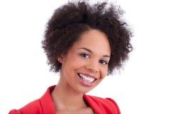 amerykanin afrykańskiego pochodzenia zbliżenia portreta kobieta Zdjęcia Stock