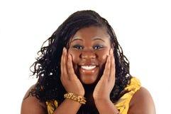 Amerykanin afrykańskiego pochodzenia zdziwiona młoda dziewczyna Fotografia Stock