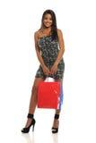 amerykanin afrykańskiego pochodzenia zdojest mienia zakupy kobiety potomstwa Fotografia Stock
