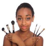 amerykanin afrykańskiego pochodzenia artysta robi dosyć w górę kobiety Obraz Stock