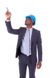 Amerykanina Afrykańskiego Pochodzenia architekta biały wskazuje palec - murzyni Fotografia Royalty Free