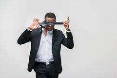Amerykanina afrykańskiego pochodzenia mężczyzna pracownik Kłopoty przy pracą obraz royalty free